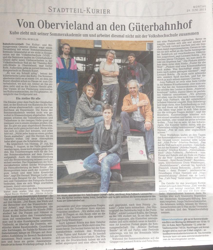 Zeitungsartikel im Weserkurier vom 29.06.2015
